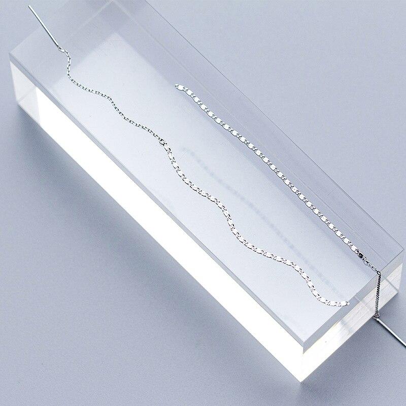 Modian Simple Fashion Long Tassel Chain Drop Earrings Charm 925 Sterling Silver Classic Dangle Ear For Women Wedding Jewelry