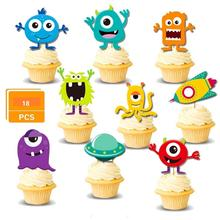 18 Pcs Little Monster Cupcake Toppers Monster Bash Cake Toppers for Baby Shower, Birthday Party Monster Themed Party Decorations цена 2017