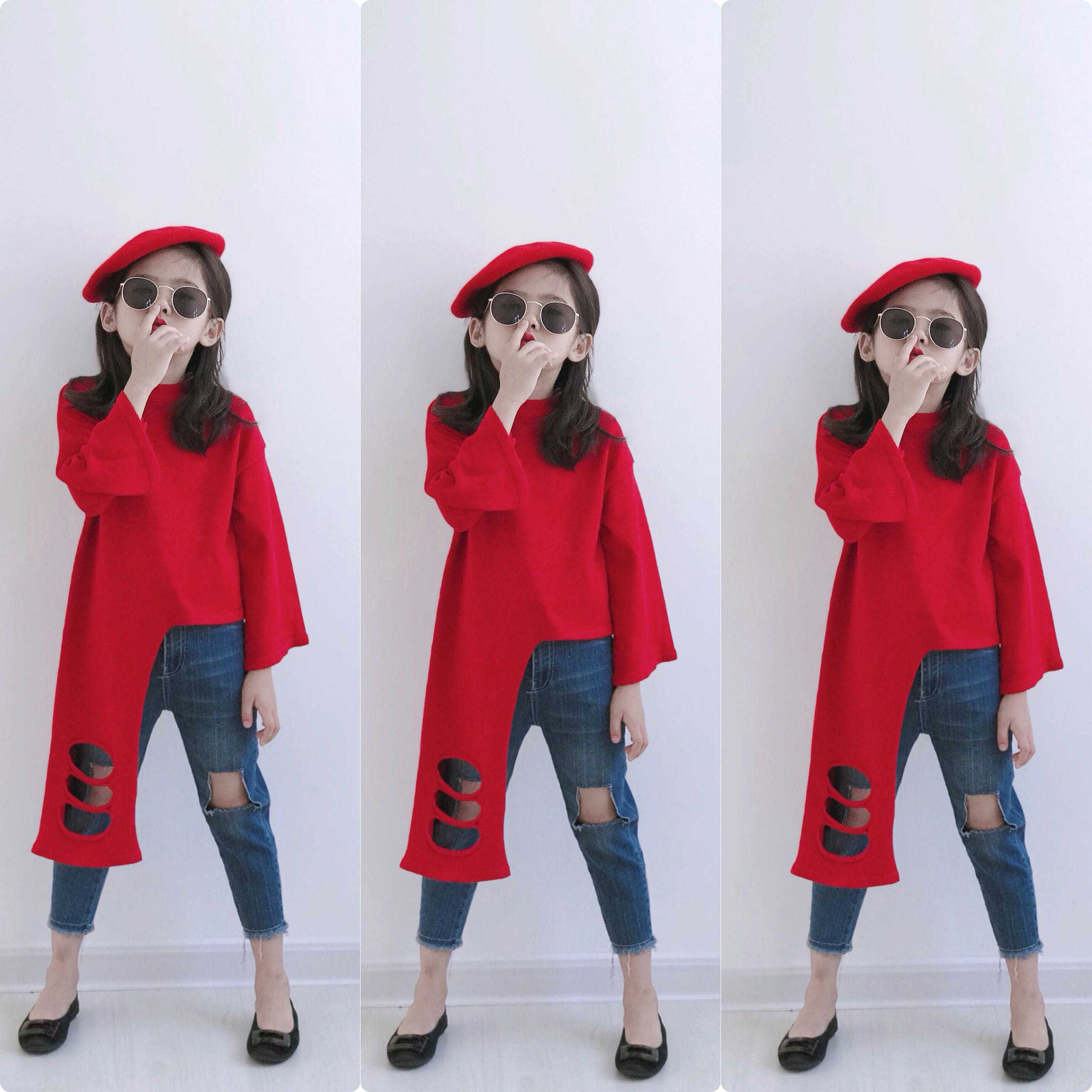 Spring Autumn girls sweater baby knitwear kids tops children knitted irregular streetwear hole hollow out wide sleeve 2 to 10 yr