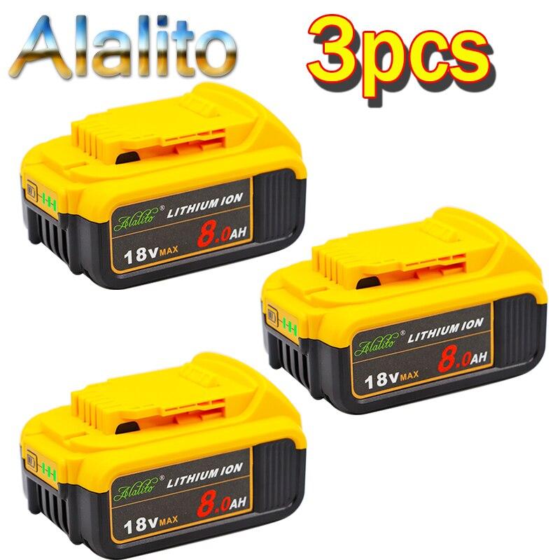 Сменный аккумулятор для электроинструмента DeWalt DCB184 DCB181 DCB182 DCB200 20V 8A 18 V 18 v, 3 шт.