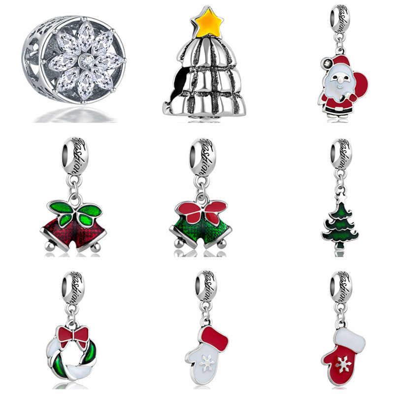 شحن مجاني 1 قطعة هدية الكريسماس الجديدة ندفة الثلج سانتا بيل الحلو البيت روبوت لتقوم بها بنفسك حبة صالح الأصلي باندورا charms سوار S046