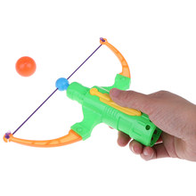 1pc Table Tennis Gun Bow Archery Plastic Ball Flying Disk Shooting Toy Children Gift Boy Toy Outdoor Sports random color(China)