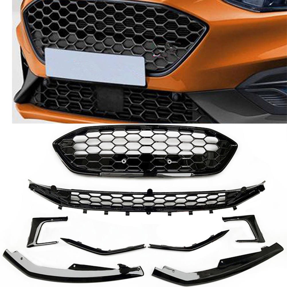 For Ford Focus 2019 2020 2021 Grill Bumper Front Upper Lower Gille Glossy Black image