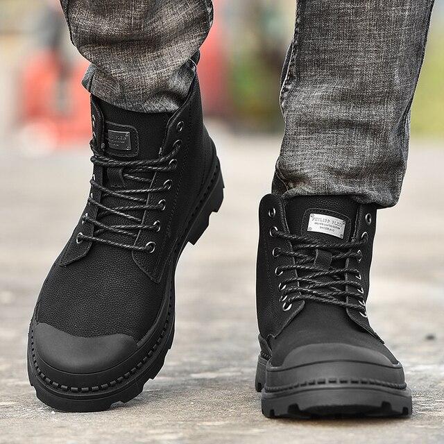 Black Warm Winter Men Boots Genuine Leather Ankle Boots Men Winter Work Shoes Men Military Fur Snow Boots for Men Botas JKPUDUN 4