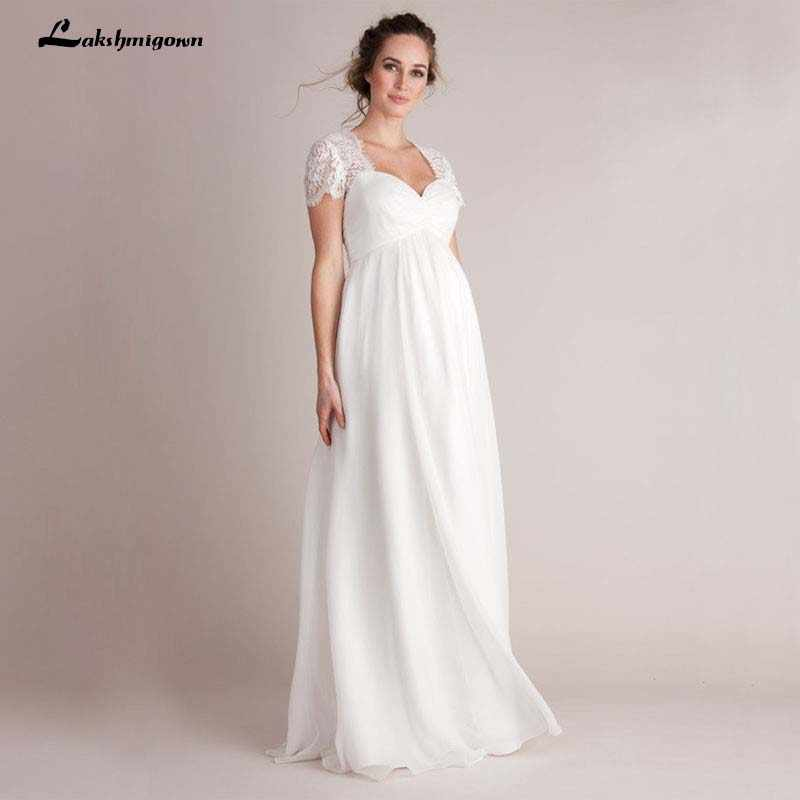 Empire Maternity Wedding Dresses For Pregnant Women 2020 Simple Lace Chiffon Floor Length Summer Beach Cheap Short Sleeves Gowns Aliexpress,Wedding Dress Sparkle Lace