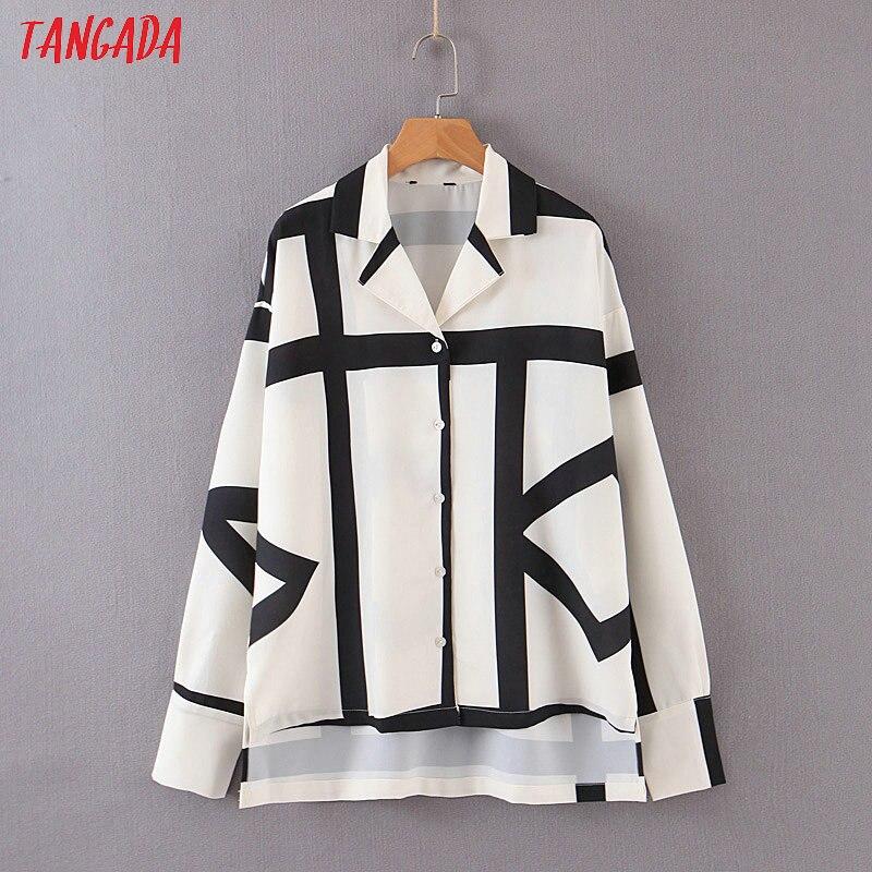 Tangada femmes rayé imprimé blouse chemises à manches longues 2019 atumn bureau dame travail chemise élégant vintage hauts DT27
