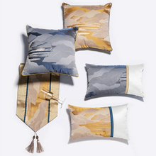 New Chinese Luxury Pillow Cover Mountains Rivers Pattern Jacquard Throw Cushion Cover Living Room Sofa Decor Lumbar Pillowcase цены