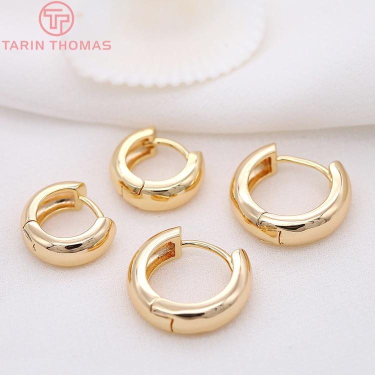 Круглые серьги-кольца из латуни, 4 шт., 13 мм, 16 мм, 18 мм, 23 мм, 24 К, с золотым покрытием, высокое качество, фурнитура для самостоятельного изготов...