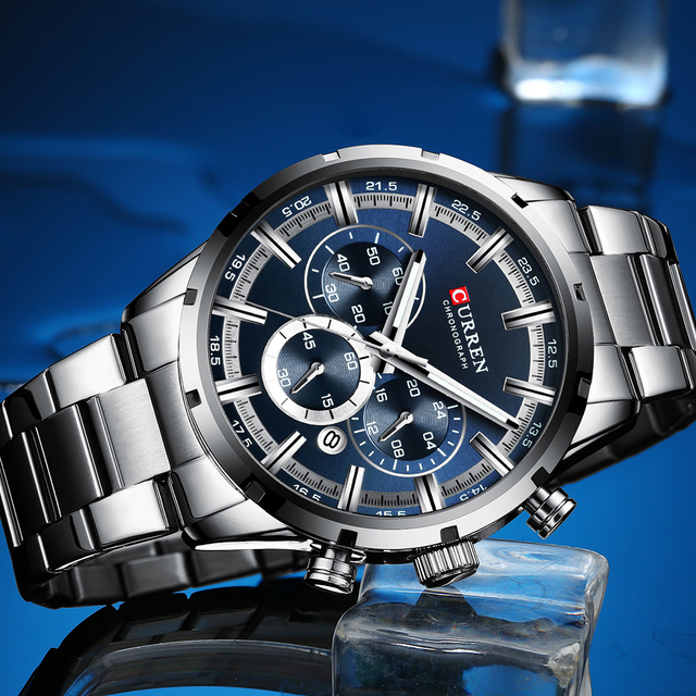CURREN Top Brand Military Quartz Watches Silver Clock Mens Quartz Stainless Steel Chronograph Watch for Men Casual Sporty Watch