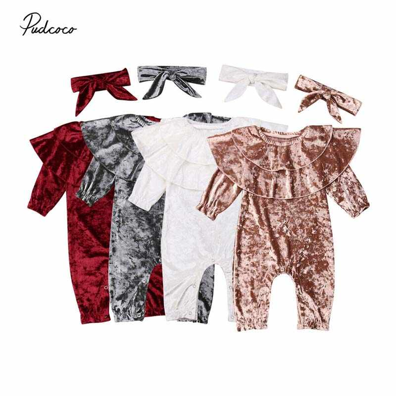 2019 Baby Spring Autumn Clothing Infant Baby Girl Boy Velvet Romper Long Sleeve Jumpsuit+Headband Ruffled Collar Clothes Outfits