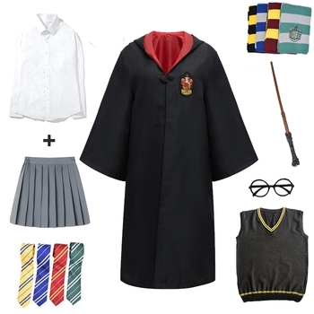 Cosplay Potter Costume Magic Robe Cape Suit Tie Scarf Wand Glasses Gift Potter Cosplay Clothes Halloween Costume Party Props harriom coin bank 18 pcs coin with bag cosplay potter toy halloween magic world party jouet gift