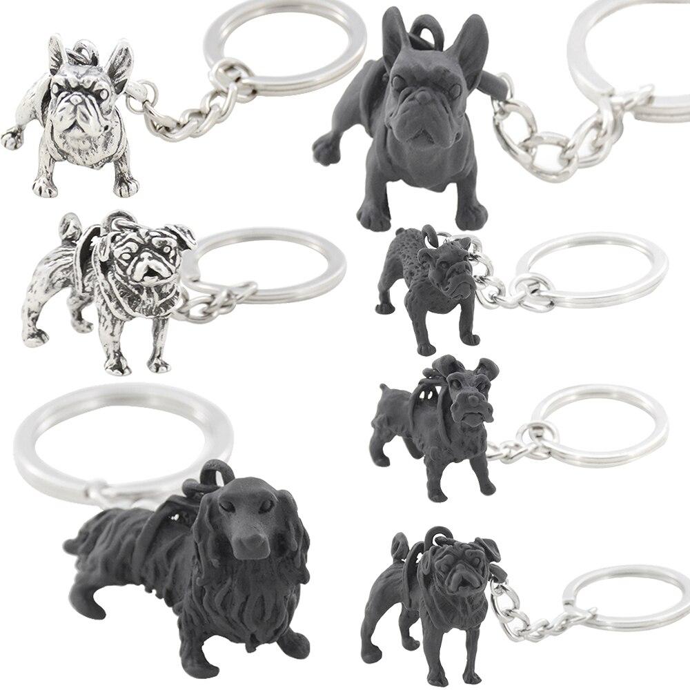 1 Piece Vintage French Bulldog  Dachshund Schnauzer Pug English Bulldog Metal Dog Key Chains Keychains Keyrings Pet Jewellery
