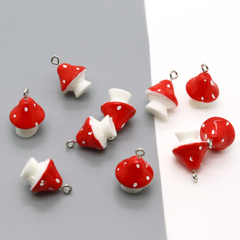 Resin Charms Pendants Keychains Jewelry-Accessory Bracelet Necklace Mushroom Food-Earring