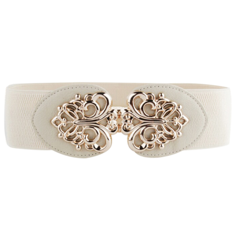 Women Metallic Retro Flower Elastic Stretchy Dress Narrow Waist Belt Band, Beige