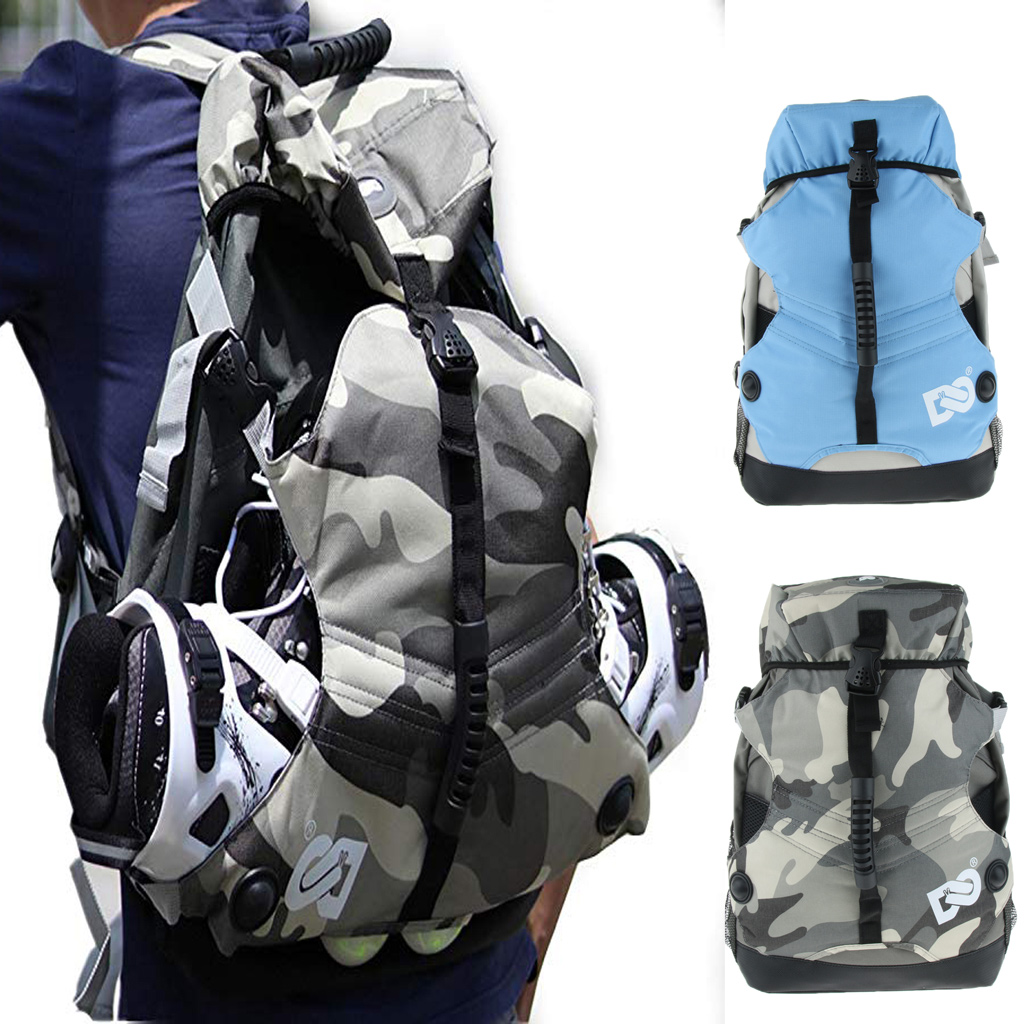 Quad Skate Roller Skating Bag Adjustable Pad Shoulder Strap Sports Backpack Ice Skates Storage Shoulder Bag Multi Pockets Bag