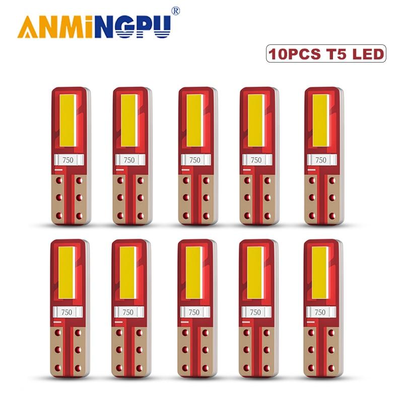 Сигнальная лампа ANMINGPU 10x T5 Led Canbus 7020SMD W3W W1.2W, светодиодная лампа для приборной панели автомобиля, лампа с теплым индикатором, белая, 12 В