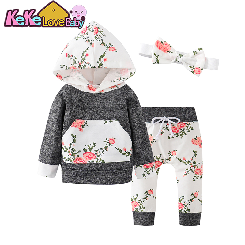 Newborn Infant Baby Kids Girls Clothes Floral Hooded Tops+Long Pants Outfits