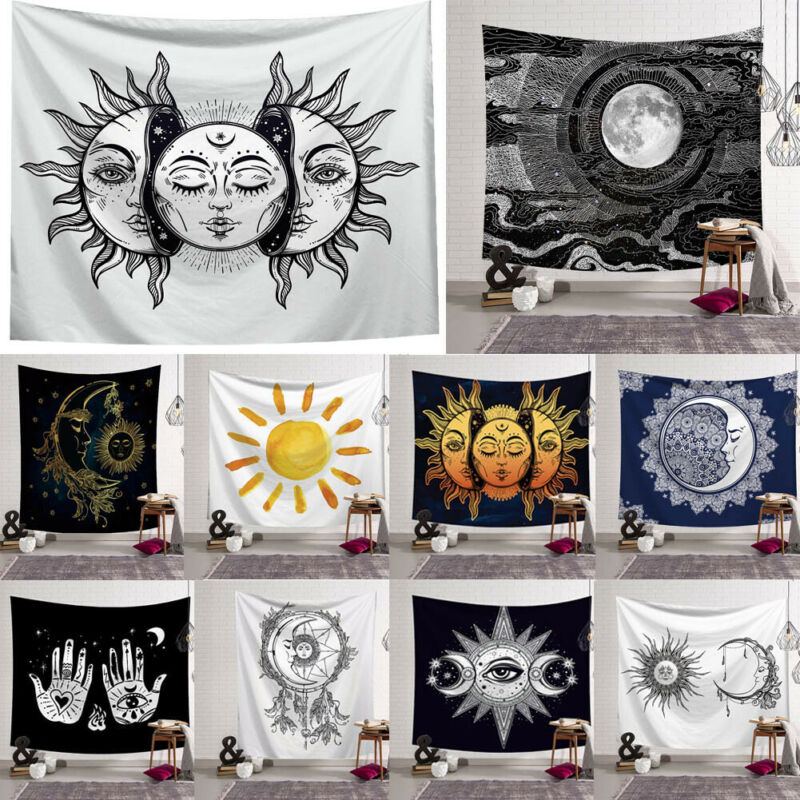 Carton Tapestry Psychedelic Moon Sun Wall Hanging Beach Towel Art Tapestry Dorm Home Decor Best 150x130cm