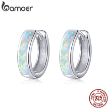 bamoer Real 925 Sterling Silver minimalist Hoop Earrings for Women Ear Circle Hoops Brincos Engagement Statement Jewelry SCE861