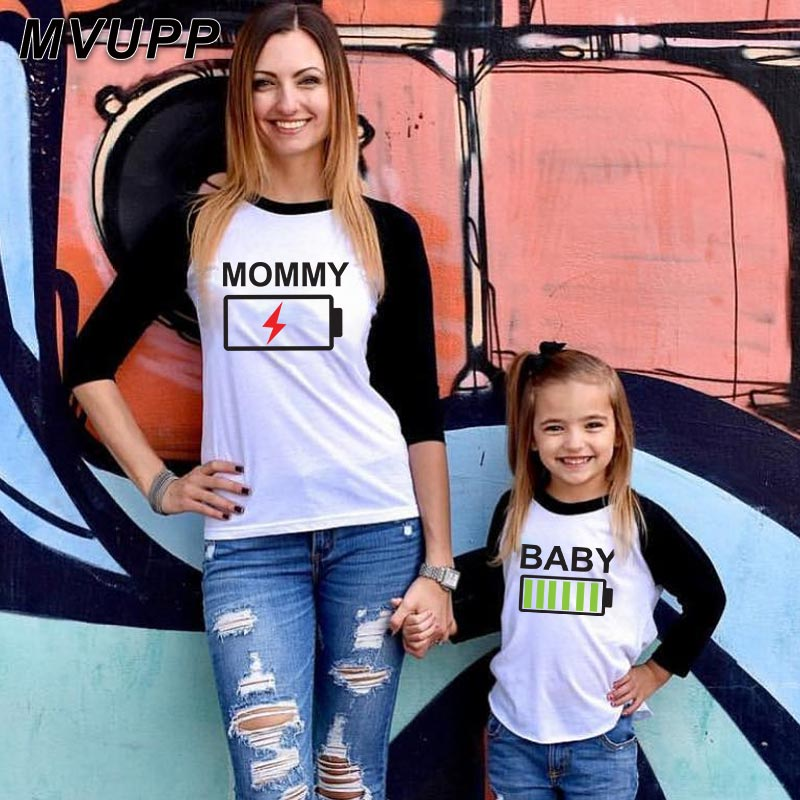 Tshirt Matching-Outfits Patchwork Long-Sleeves Family-Look Mommy Baby-Girl Son Kids Mum