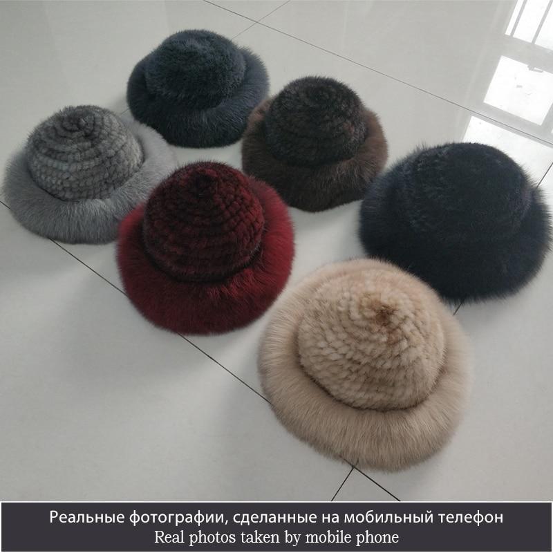 Gorros de piel de visón Real para mujer, sombreros de invierno de piel de zorro auténtica, sombrero de invierno de calidad de lujo, elástico, suave y esponjoso natural sombrero de piel - 2