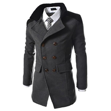 New Mens Long Trench Coat Autumn/winter Turn-down Collar England Style Double Breasted Coat Slim Windbreaker Gentry Outwear Coat стоимость