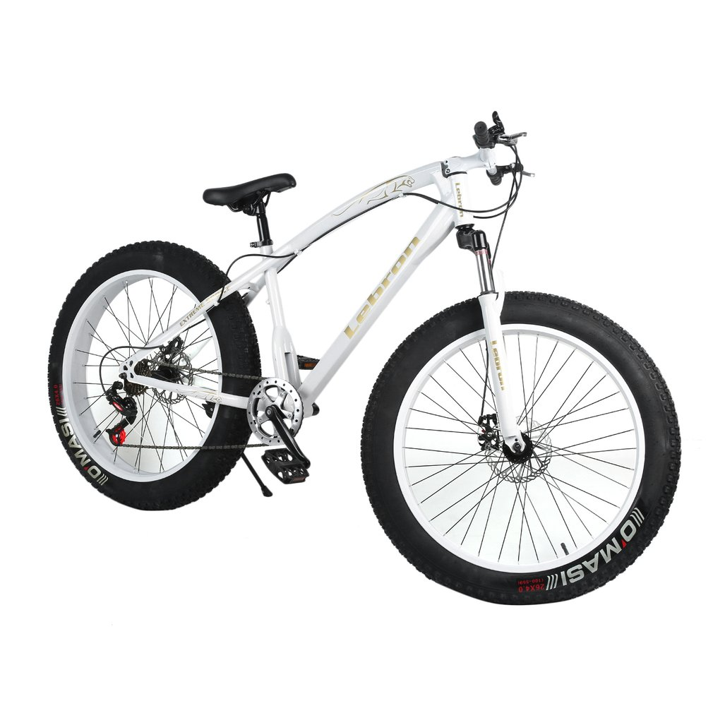26X21 Inch 7 Speed Snow Bike Double Disc Braking System Bicycle Steel Frame Mountain Bike Outdoor Sports Exercise Bike image
