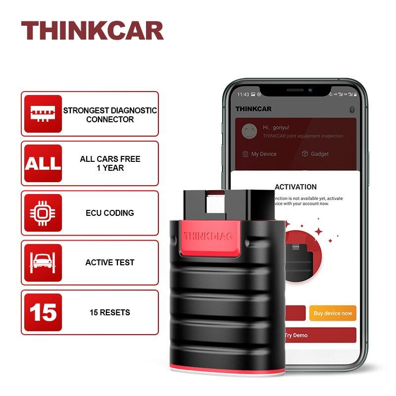 Thinkcar ThinkDiag All Cars Free Update Full System Diagnostic Tools 15 Reset Obd2 Auto Scanner Bluetooth Programmer Diagnostics