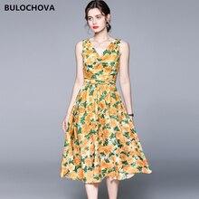 2021 mais novo verão vintage impresso doce mulher v pescoço sem mangas colete longo vestido grande tamanho pista a linha vestidos femininos 2xl