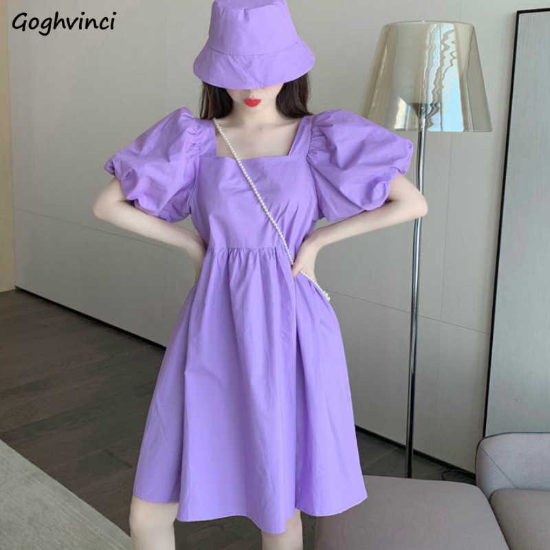 Short Puff Sleeve Purple Dress Women Square Collar Solid Colorful Elegant Female Plus Size 3XL Sweet High Quality Slim Stylish