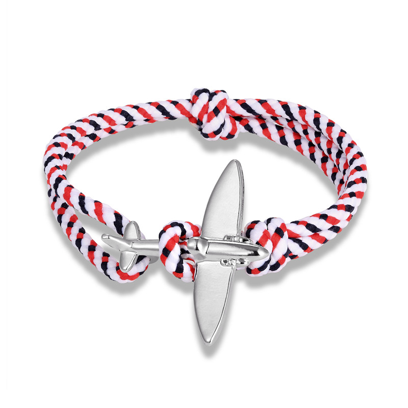 MKENDN New Arrival Airplane Anchor Sport Camping Parachute cord Survival Bracelet Men Women Buckle navy style Fashion Jewelry