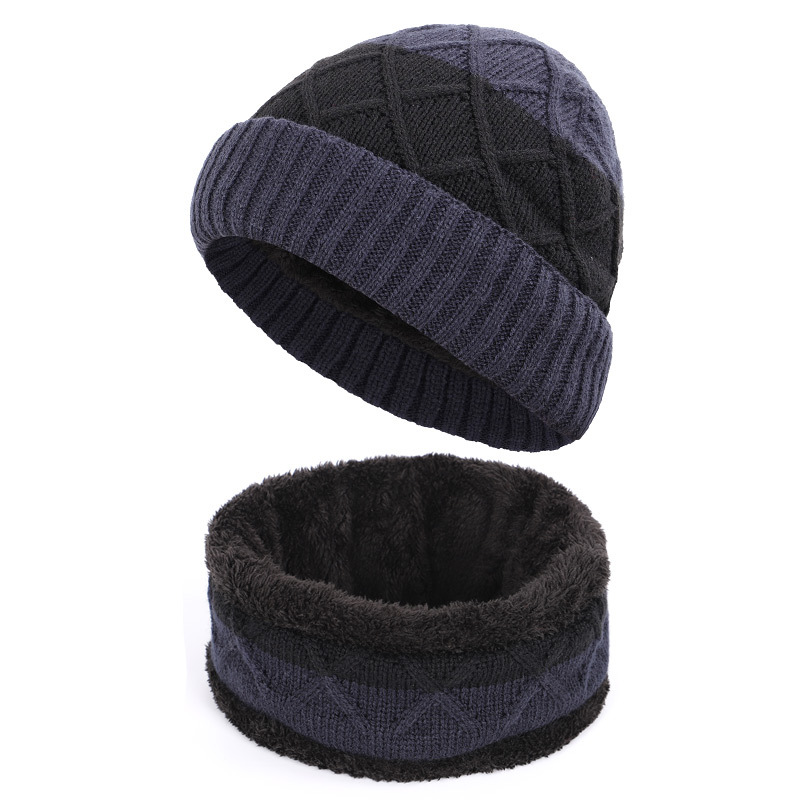 2020 Hat And Scarf Set For Men Autumn/winter New Knitted Thickened Patchwork Color Plus Velvet Warm Hat Neck Warmer Set