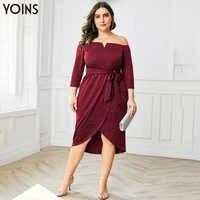 YOINS Off Schulter 3/4 Hülse Asymmetrischem Saum Kleid Frauen 2019 Vintage Elegante Midi Kleider Für Dame Party Plus Größe Vestidos