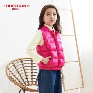 Image 3 - THREEGUN KIDS キッズガールズボーイズ子供 90% アヒルダウンジレタートルネックベスト冬の子供の幼児上着超軽量冬服