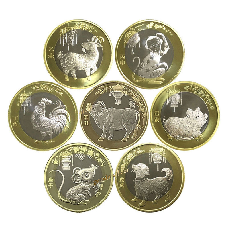 Китайская монета со знаками Зодиака, 2015-2021 год козы-ОКСа, оригинальная памятная биметаллическая монета 10 юаней для коллекции, петух для обез...