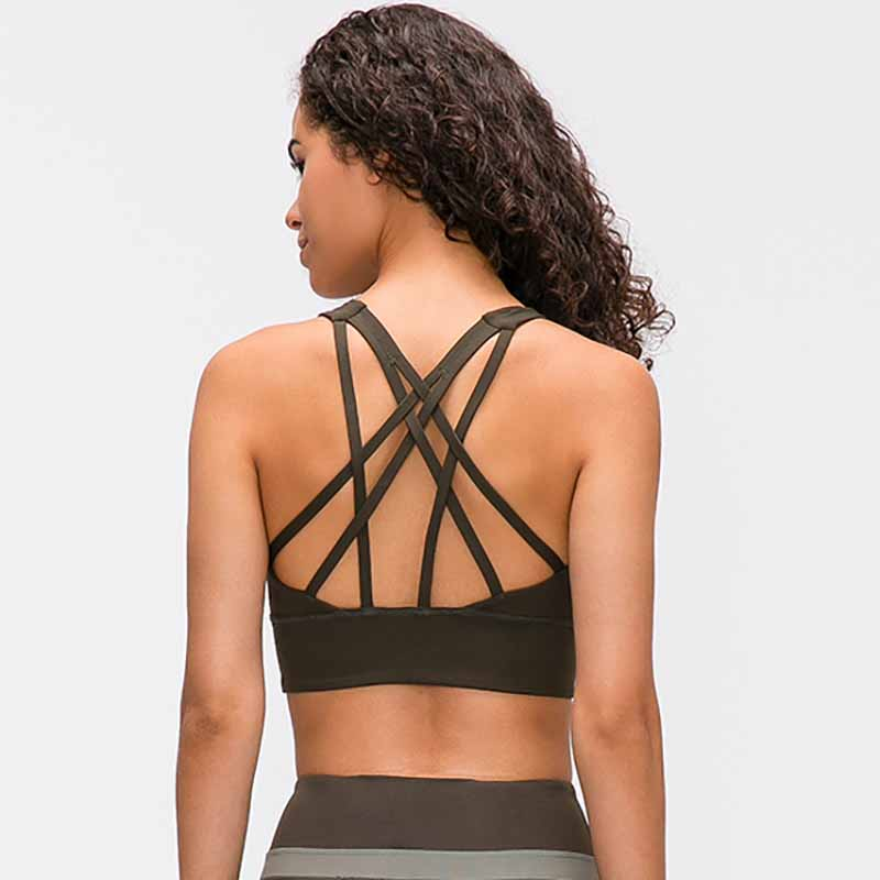 NWT Naked-feel Fabric Anti-sweat Pro Training Yoga Fitness Bras Crop Tops Women Push Up Shockproof Running Sports Bras Top