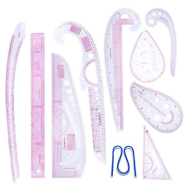MIUSIE 10 pz/set Cucito Su Misura Curva Francese Modello di Classificazione Righelli Disegno Linea di Misura Dei Vestiti Patchwork di Disegno Righello Set