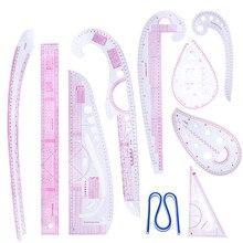 MIUSIE 10 sztuk/zestaw szycia krawiec francuski krzywa wzór klasyfikacji linijki rysunek linia środek odzież patchworkowy projekt linijka zestaw