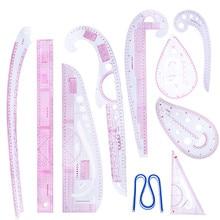 MIUSIE 10 teile/satz Nähen Schneider Französisch Kurve Muster Grading Herrscher Zeichnung Linie Messen Kleidung Patchwork Design Lineal Set