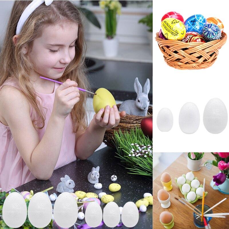 10/20pcs 5-9cm White Polystyrene Styrofoam Foam Eggs Creative Graffiti Painted Exercise DIY Craft Easter Egg Decoration Supplies