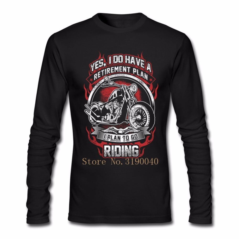 Streetwear Motorcycle Harajuku Men T Shirt My retirement plan is to go riding T Shirt Mens Long Sleeved Cotton Male Tops image