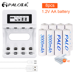 Palo 4-16pcs AA Rechargeable Battery 1.2V 3000mAh NI-MH Nimh Ni Mh High Capacity Rechargeable AA Batteries for Camera Toy Car