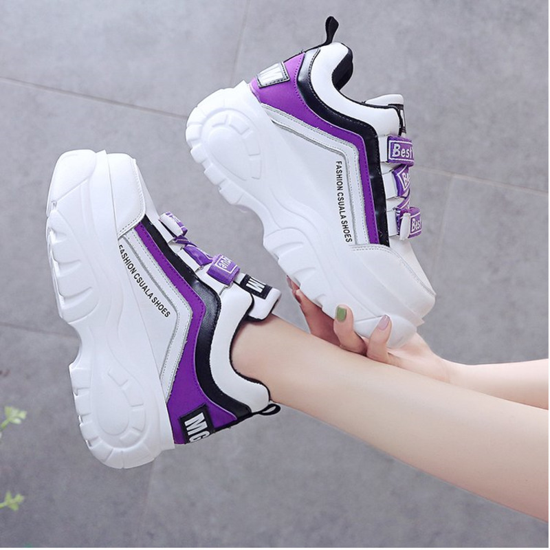 Women Chunky Sneakers 2019 Fashion Platform Sneakers Ladies Brand Wedges Casual Shoes For Woman Leather Sports Dad Shoes 7cm