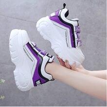 Kobiety Chunky Sneakers 2020 moda platforma trampki damskie marki kliny obuwie dla kobiety skórzane sportowe buty dla taty 7cm