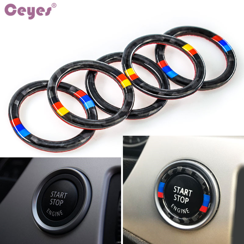 Ceyes Car Styling For Bmw E90 E92 E93 3 Series For M German Flag Logo Auto Engine Start Stop Circle Ring Covers Stickers Case