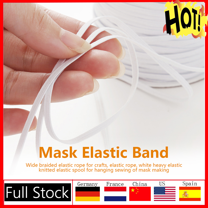 3mm 10/15m Mouth Mask Elastic Band Mask Rope Rubber Band String Mask Ear Cord Round Elastic Band DIY Clothing Craft Accessories