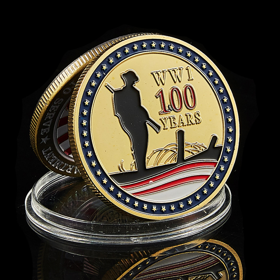 1918-2018 WWI 100th Anniversary World Challenge Gold Plated Commemorative Coin Of USA Great Seal Medal