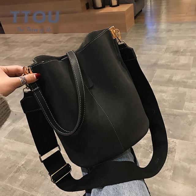 Brand Design Women Bucket PU Leather Shoulder Bag Large Capacity Lady Crossbody Bags Wide Strap Female Solid Color Totes Handbag