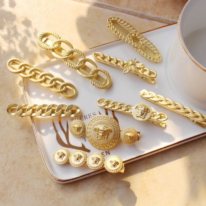 Europe New Vintage Matte Gold Color Portrait Head Coin Chain Style Barrettes Hair Clips For Women Hair Accessories Hairpins