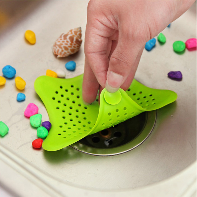 Starfish Type Kitchen Sink Hair Anti-blocking Filter Sewer Block Suction Cup Silicone Floor Drain Kitchen Bathroom Supplies Hot